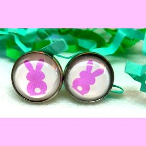 3/$15 Purple Peep Easter Bunny Earrings